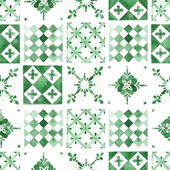 Modèle sans couture aquarelle carreaux traditionnels verts