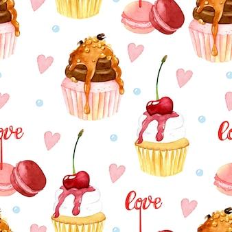 Modèle sans couture aquarelle cupcake macaron