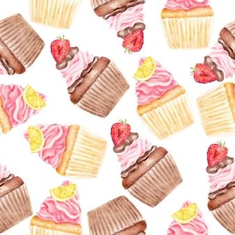 Modèle sans couture aquarelle de cupcakes les plus sucrés