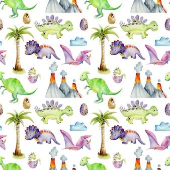 Modèle sans couture aquarelle de dinosaures préhistoriques