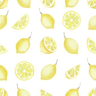 Modèle sans couture aquarelle d'éléments de citron jaune