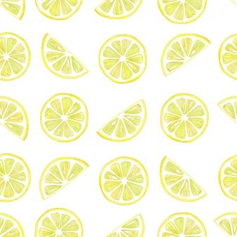 Modèle sans couture aquarelle d'éléments de rondelles de citron