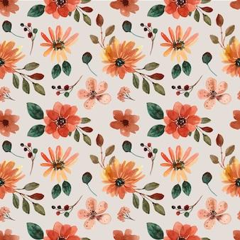 Modèle sans couture aquarelle avec feuille et fleur d'automne chaude