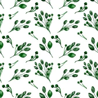 Modèle sans couture aquarelle feuille verte