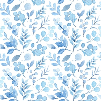 Modèle sans couture aquarelle de feuilles bleu pastel