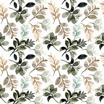 Modèle sans couture aquarelle feuilles marron vert