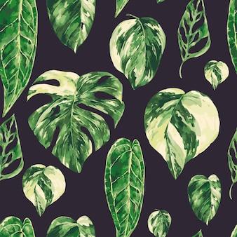 Modèle sans couture aquarelle feuilles vertes tropicales. texture de verdure panachée de monstera, papier peint botanique.
