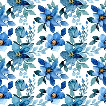 Modèle sans couture avec aquarelle fleur bleue