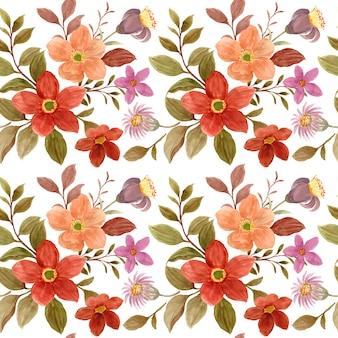 Modèle sans couture d'aquarelle de fleur brune