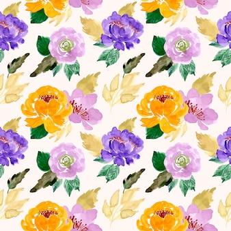 Modèle sans couture aquarelle fleur jaune