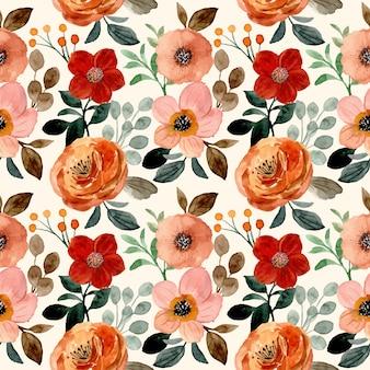 Modèle sans couture aquarelle fleur marron