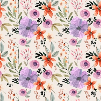 Modèle sans couture aquarelle avec fleur orange et violet