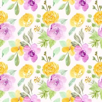 Modèle sans couture aquarelle fleur pourpre jaune
