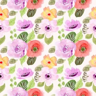 Modèle sans couture aquarelle fleur printemps