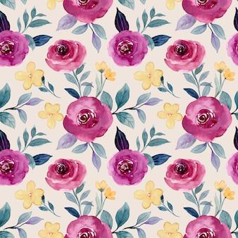Modèle sans couture d'aquarelle fleur rose bordeaux