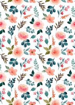 Modèle sans couture aquarelle fleur rose rose