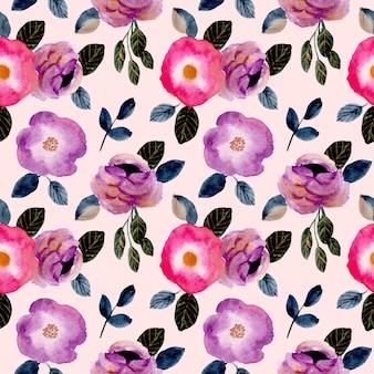 Modèle sans couture aquarelle fleur rose violet