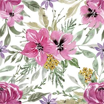 Modèle sans couture aquarelle fleur rose