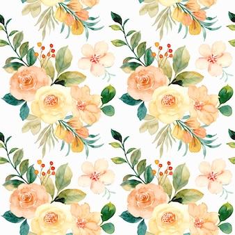 Modèle sans couture d'aquarelle de fleur rose