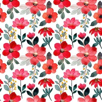Modèle sans couture aquarelle fleur rouge