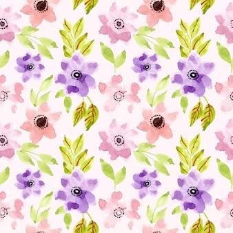 Modèle sans couture aquarelle fleur violet rose