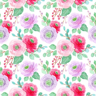 Modèle sans couture aquarelle fleur violet rouge