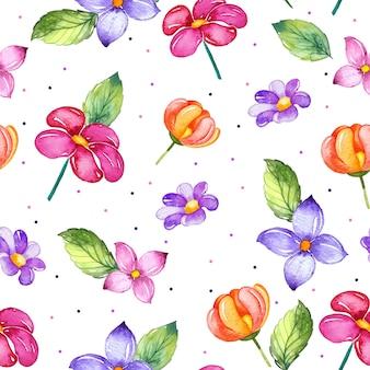 Modèle sans couture aquarelle avec fleurs colorées