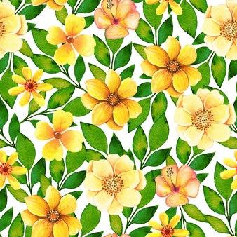 Modèle sans couture aquarelle avec fleurs et feuilles jaunes