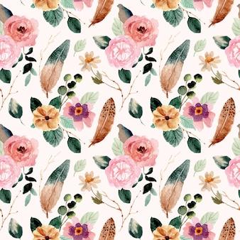 Modèle sans couture aquarelle de fleurs et de plumes