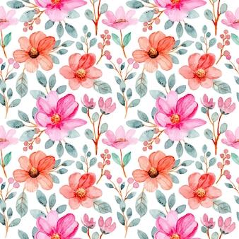 Modèle sans couture avec aquarelle fleurs roses et feuilles vertes