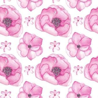 Modèle sans couture aquarelle fleurs roses