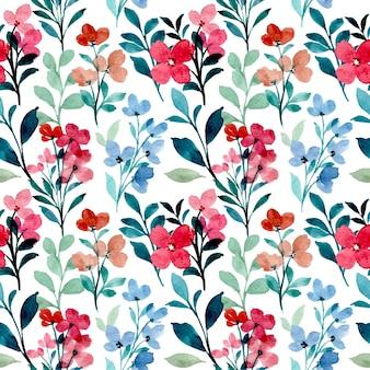Modèle sans couture aquarelle de fleurs sauvages bleu rouge