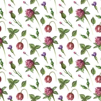 Modèle sans couture aquarelle avec des fleurs sauvages