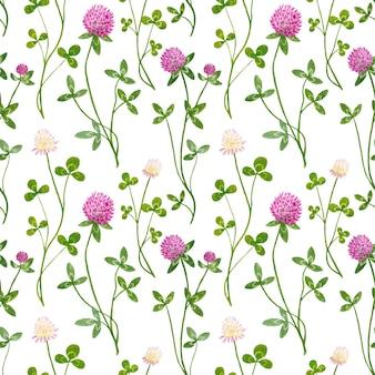 Modèle sans couture aquarelle avec des fleurs de trèfle blanc et rouge