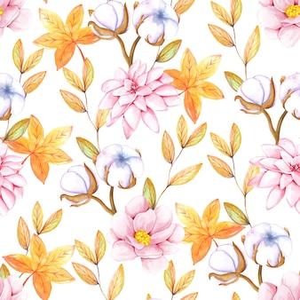 Modèle sans couture aquarelle avec des fleurs