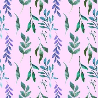 Modèle sans couture aquarelle floral belle feuille verte bleue