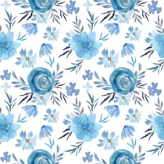 Modèle sans couture aquarelle floral bleu doux