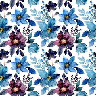 Modèle sans couture aquarelle floral bleu
