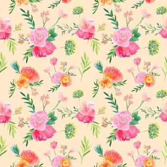 Modèle sans couture aquarelle floral botanique vintage
