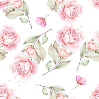 Modèle sans couture aquarelle floral dessiné à la main