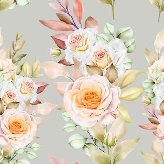Modèle Sans Couture Aquarelle Floral Et Feuilles Vecteur gratuit