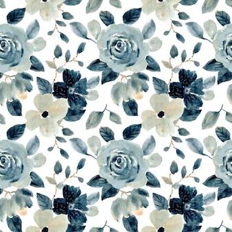 Modèle sans couture aquarelle floral gris bleu