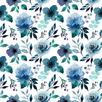 Modèle sans couture aquarelle floral indigo bleu