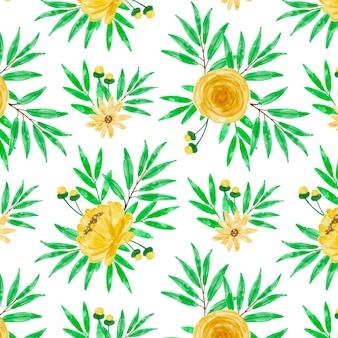 Modèle sans couture aquarelle floral jaune