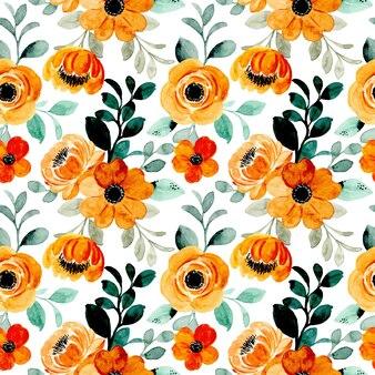 Modèle sans couture aquarelle floral marron jaune