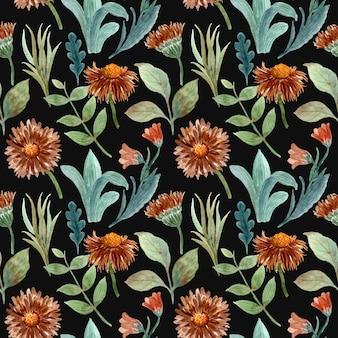 Modèle sans couture aquarelle floral marron