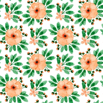 Modèle sans couture aquarelle floral orange