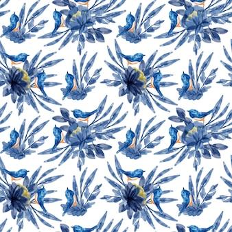 Modèle Sans Couture Aquarelle Floral Rose Bleu Vecteur Premium