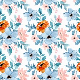 Modèle sans couture aquarelle floral rose bleu