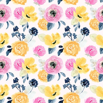 Modèle sans couture aquarelle floral rose jaune